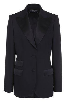 Приталенный жакет с широкими шелковыми лацканами Dolce & Gabbana черный | Фото №1