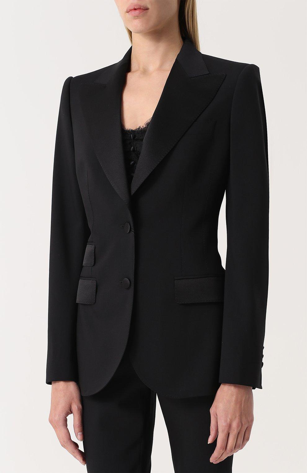 Приталенный жакет с широкими шелковыми лацканами Dolce & Gabbana черный | Фото №3