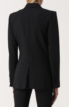 Приталенный жакет с широкими шелковыми лацканами Dolce & Gabbana черный | Фото №4
