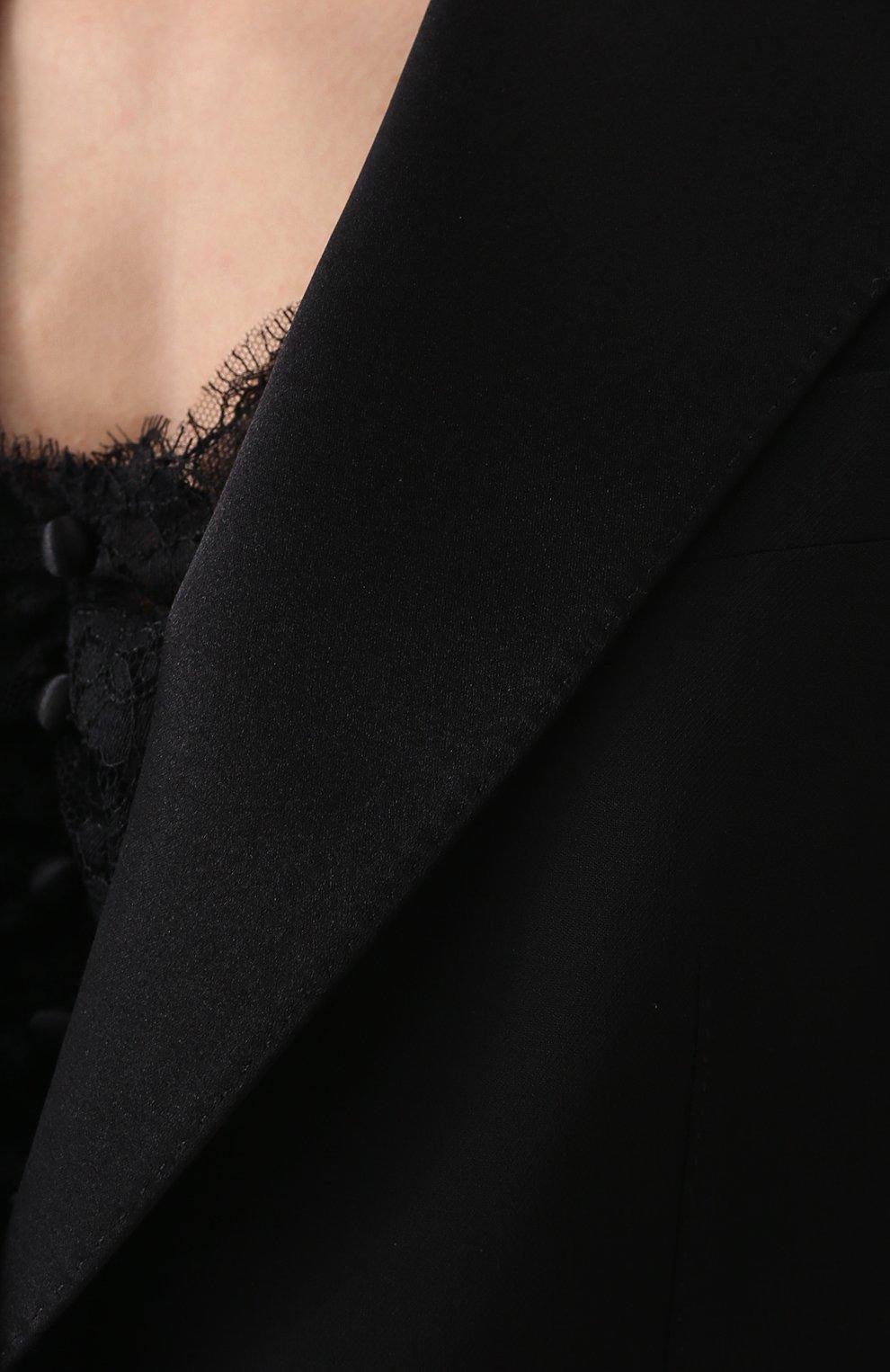 Приталенный жакет с широкими шелковыми лацканами Dolce & Gabbana черный | Фото №5