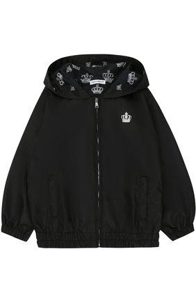 Куртка на молнии с капюшоном Dolce & Gabbana черного цвета | Фото №1