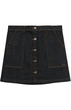 Джинсовая юбка с накладными карманами | Фото №1