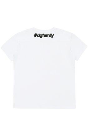 Детская футболка из хлопка с аппликацией Dolce & Gabbana белого цвета | Фото №2