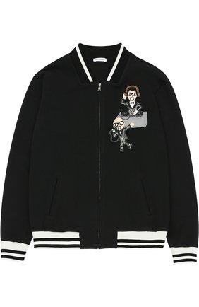 Бомбер из хлопка с аппликациями и контрастной отделкой Dolce & Gabbana черного цвета | Фото №1