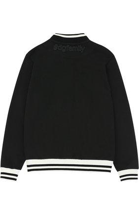 Бомбер из хлопка с аппликациями и контрастной отделкой Dolce & Gabbana черного цвета | Фото №2