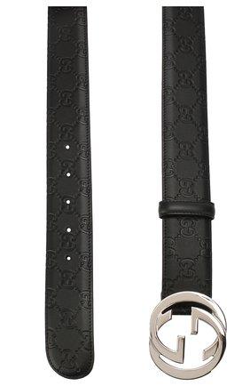 Мужской кожаный ремень signature GUCCI черного цвета, арт. 411924/CWC1N | Фото 2