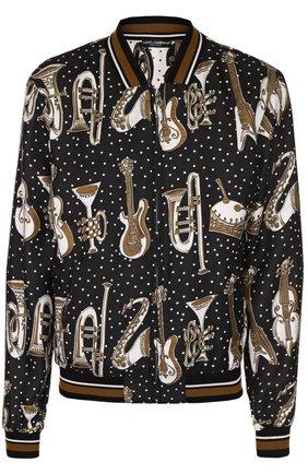 Шелковый бомбер на молнии  спринтом Dolce & Gabbana черно-белая | Фото №1