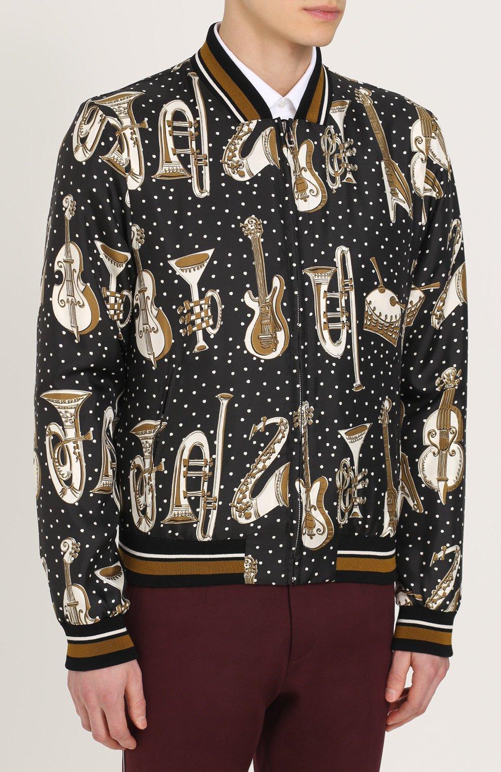 Шелковый бомбер на молнии  спринтом Dolce & Gabbana черно-белая | Фото №3