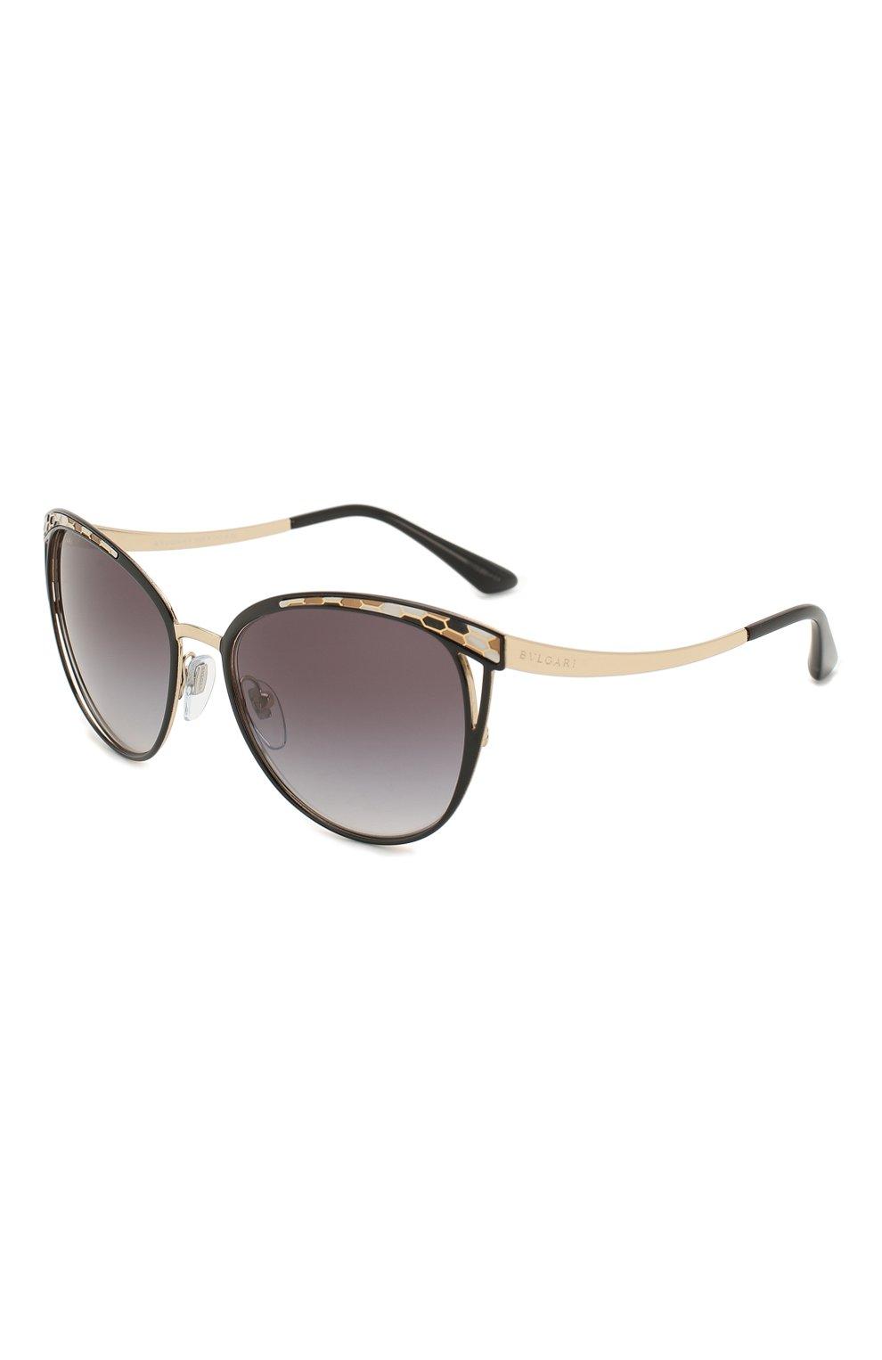 Женские солнцезащитные очки BVLGARI черного цвета, арт. 6083-20188G | Фото 1