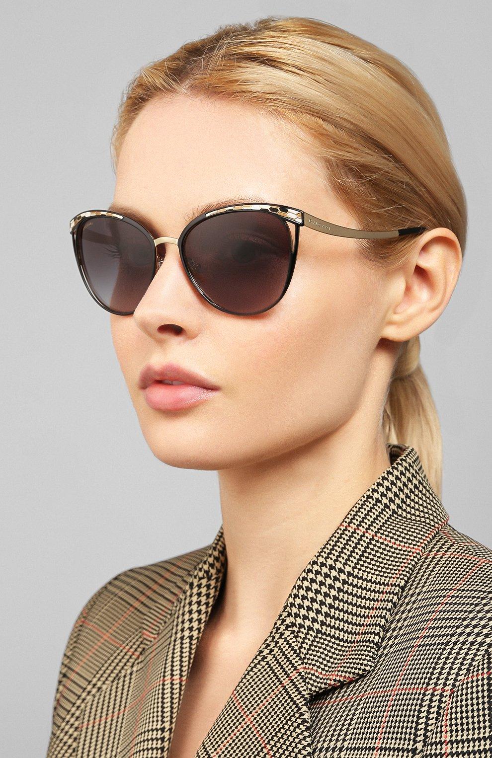 Женские солнцезащитные очки BVLGARI черного цвета, арт. 6083-20188G | Фото 2