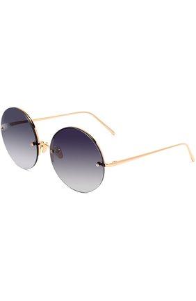 Женские солнцезащитные очки LINDA FARROW темно-синего цвета, арт. LFL565C4 SUN | Фото 1
