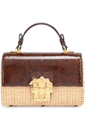 Плетеная сумка Lucia с отделкой из кожи питона | Фото №1