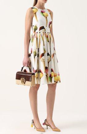 Плетеная сумка Lucia с отделкой из кожи питона | Фото №2