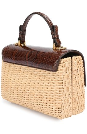 Плетеная сумка Lucia с отделкой из кожи питона | Фото №3