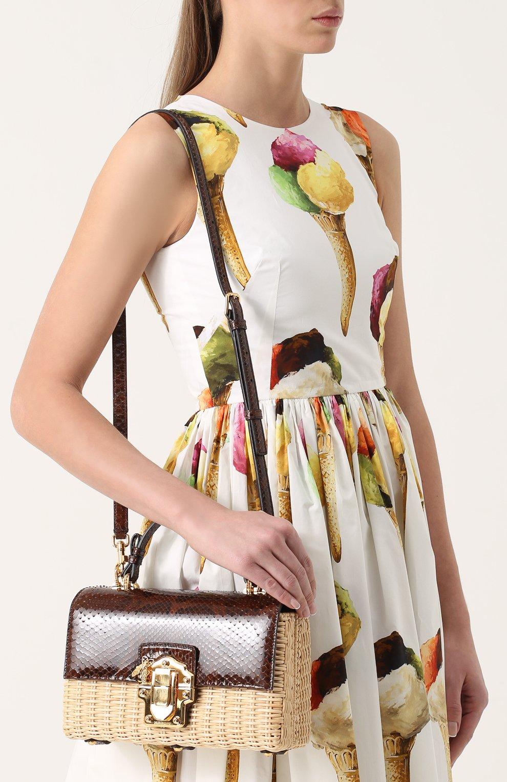 Плетеная сумка Lucia с отделкой из кожи питона | Фото №5
