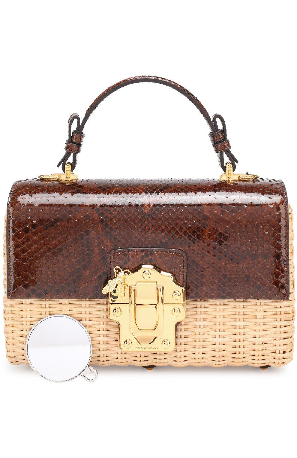 Плетеная сумка Lucia с отделкой из кожи питона | Фото №6