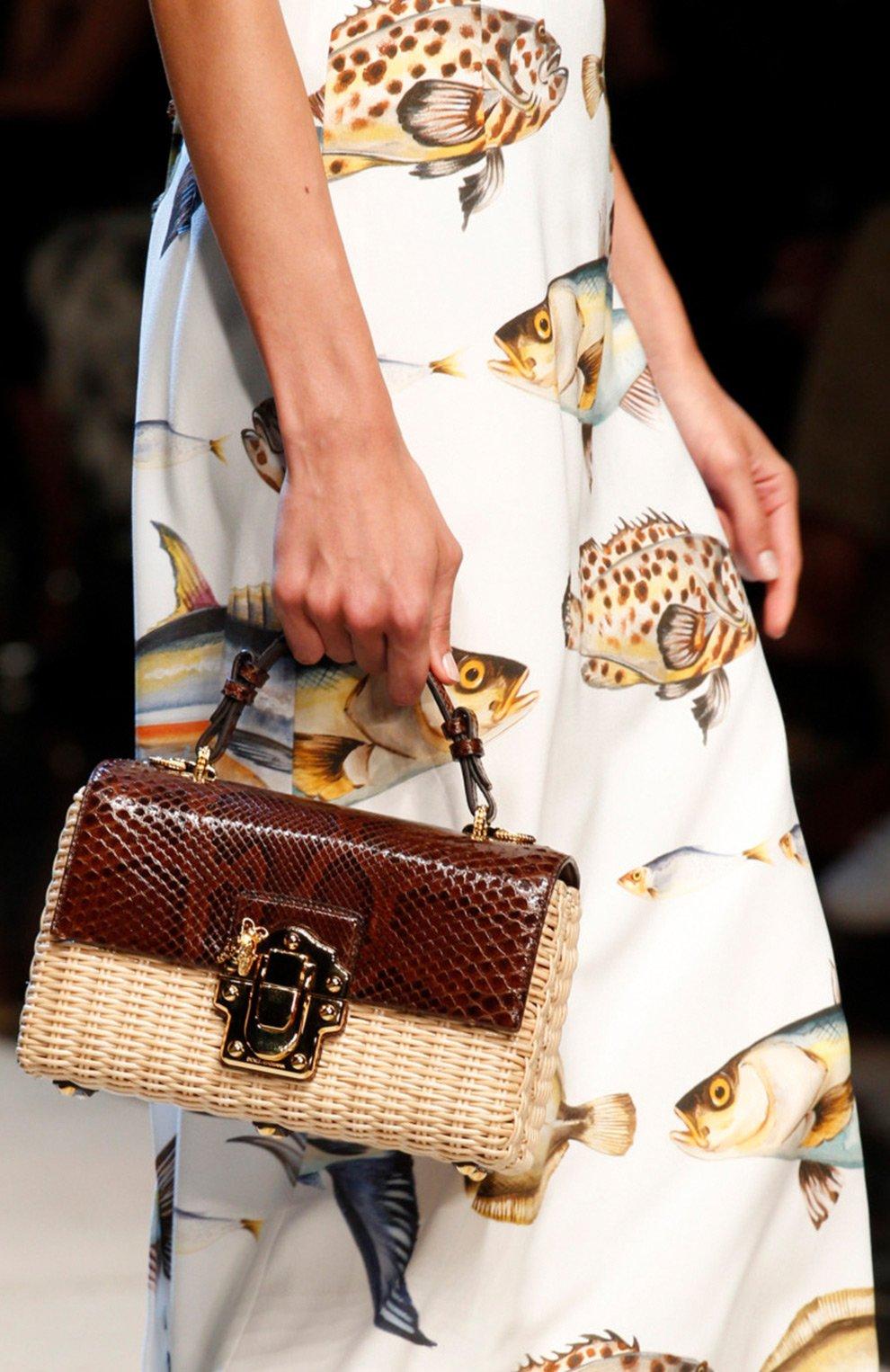 Плетеная сумка Lucia с отделкой из кожи питона | Фото №7