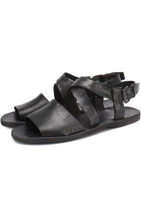 Кожаные сандалии на плоской подошве