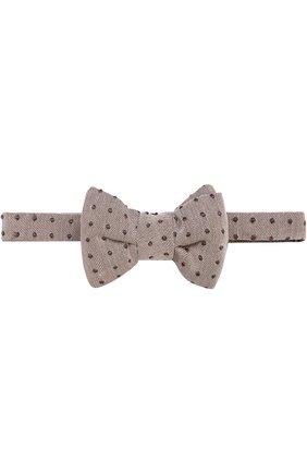 Мужской галстук-бабочка из смеси шелка и хлопка TOM FORD бежевого цвета, арт. 9TF164CH | Фото 1