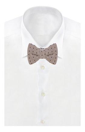 Мужской галстук-бабочка из смеси шелка и хлопка TOM FORD бежевого цвета, арт. 9TF164CH | Фото 2