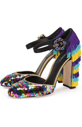 Туфли Vally с пайетками и бахромой Dolce & Gabbana разноцветные | Фото №1