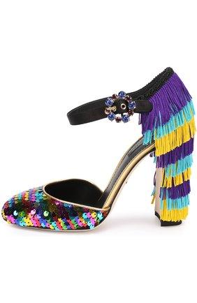 Туфли Vally с пайетками и бахромой Dolce & Gabbana разноцветные | Фото №2