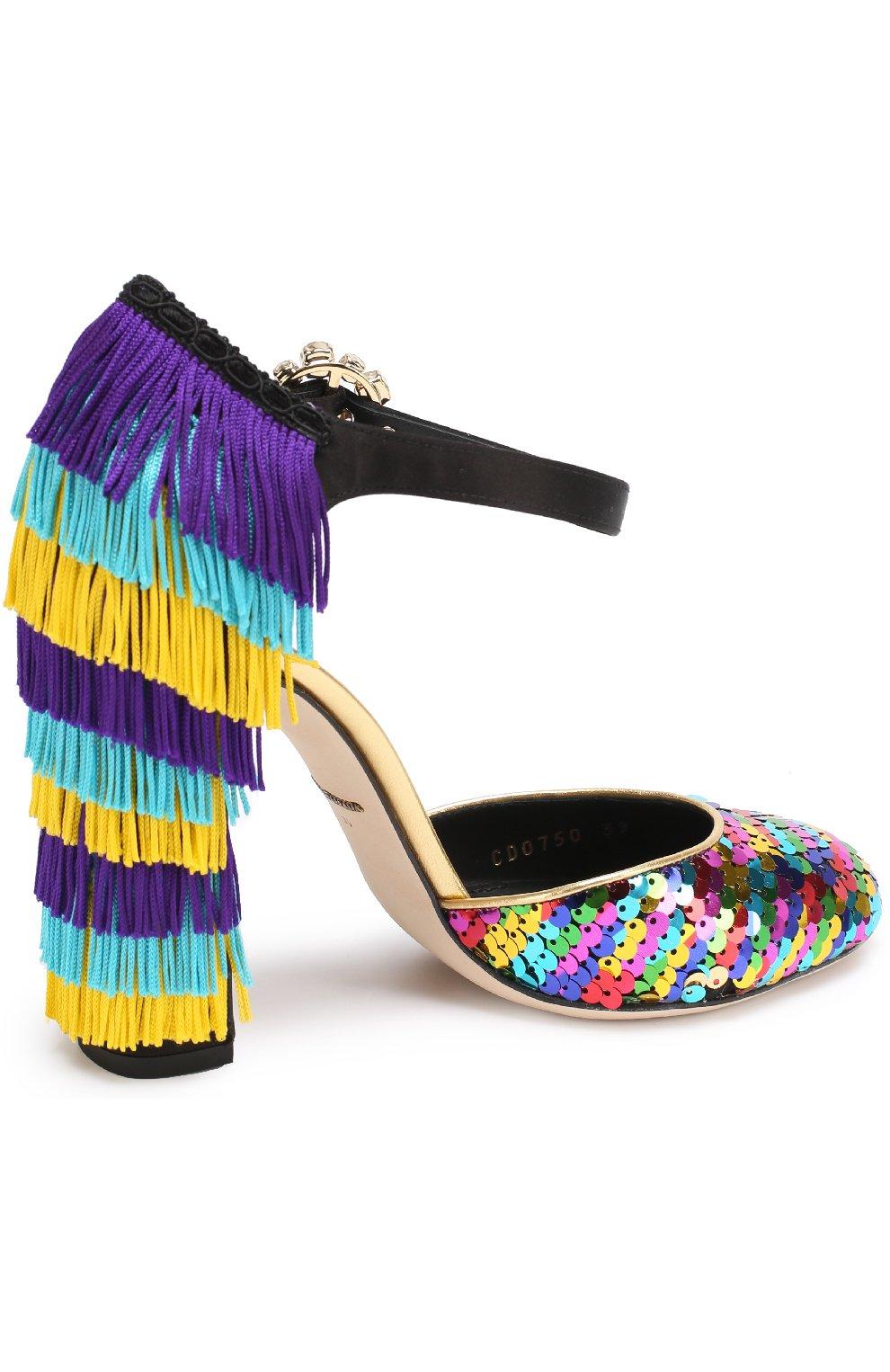 Туфли Vally с пайетками и бахромой Dolce & Gabbana разноцветные | Фото №3