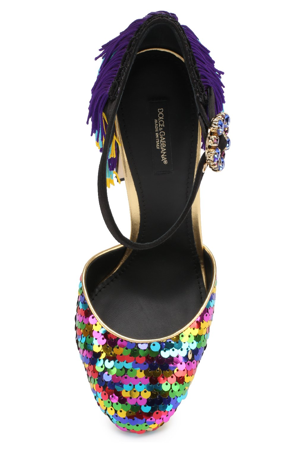 Туфли Vally с пайетками и бахромой Dolce & Gabbana разноцветные | Фото №4