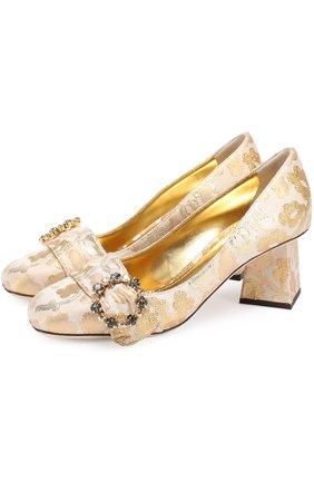 Парчовые туфли Jackie на фигурном каблуке | Фото №1