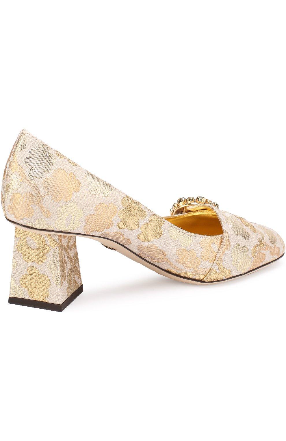 Парчовые туфли Jackie на фигурном каблуке | Фото №3