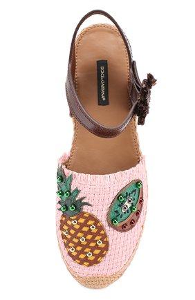 Плетеные эспадрильи с аппликациями Dolce & Gabbana светло-розовые | Фото №4