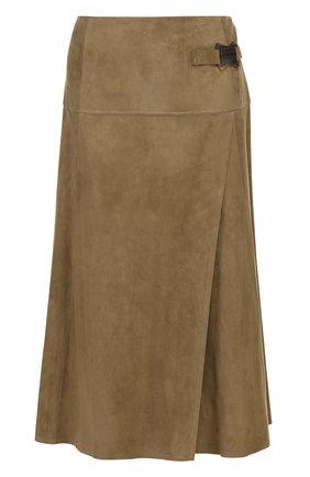 Замшевая юбка-миди с запахом | Фото №1