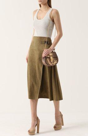 Замшевая юбка-миди с запахом | Фото №2