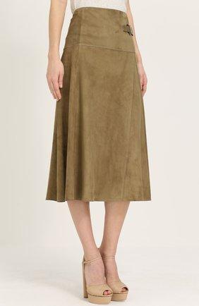 Замшевая юбка-миди с запахом | Фото №3