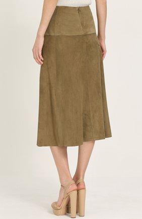 Замшевая юбка-миди с запахом | Фото №4