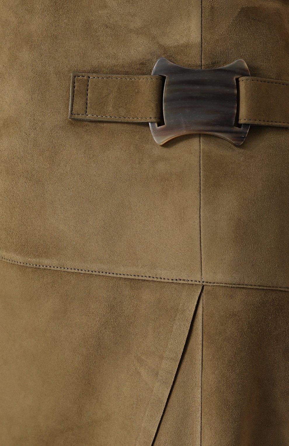 Замшевая юбка-миди с запахом | Фото №5