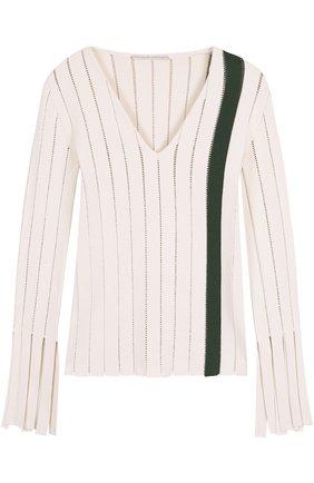 Облегающий пуловер с перфорацией и V-образным вырезом Marco de Vincenzo разноцветный | Фото №1