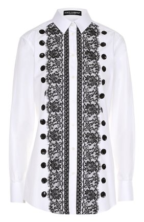 Приталенная хлопковая блуза с контрастной кружевной отделкой Dolce & Gabbana белая | Фото №1