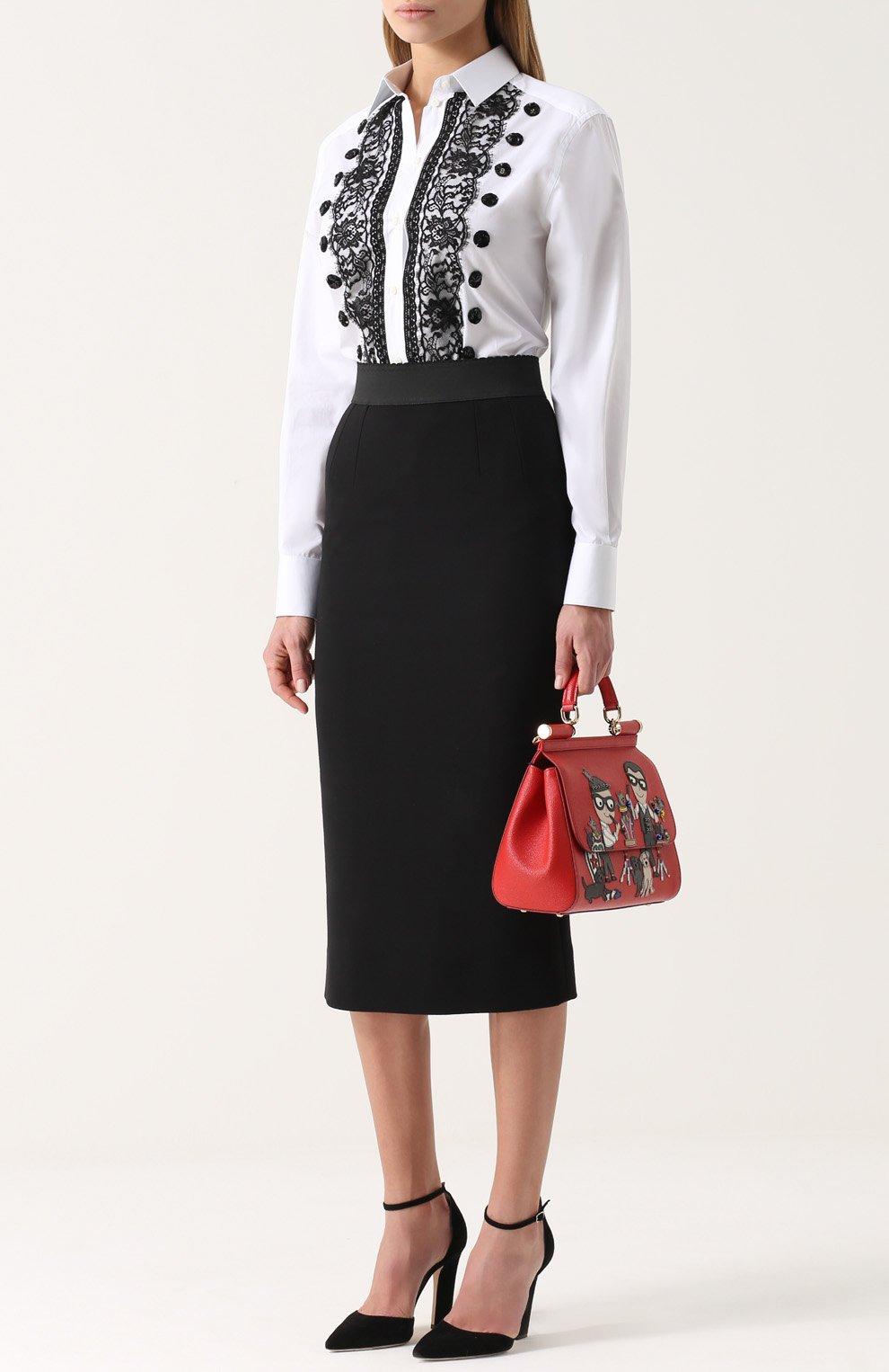 Приталенная хлопковая блуза с контрастной кружевной отделкой Dolce & Gabbana белая | Фото №2