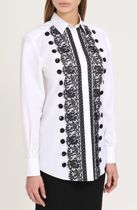 Приталенная хлопковая блуза с контрастной кружевной отделкой Dolce & Gabbana белая | Фото №3
