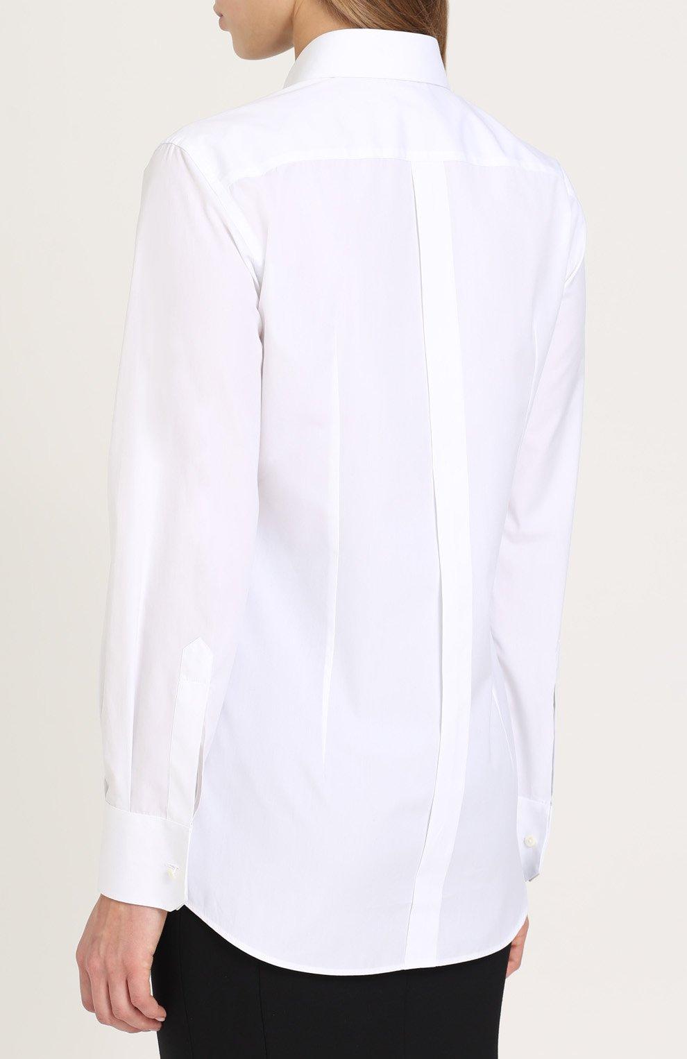 Приталенная хлопковая блуза с контрастной кружевной отделкой Dolce & Gabbana белая | Фото №4