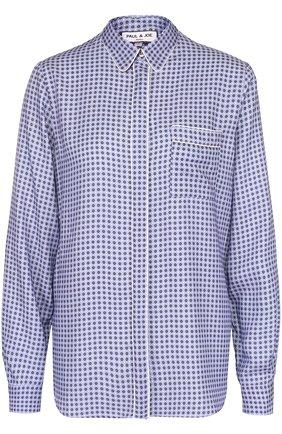 Блуза прямого кроя с принтом и накладным карманом | Фото №1