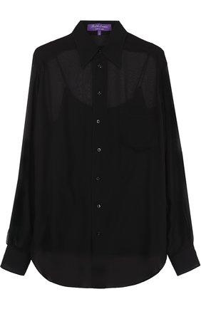 Шелковая полупрозрачная блуза прямого кроя