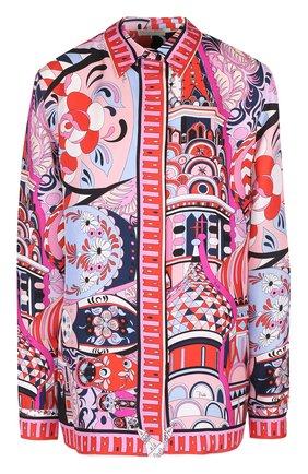 Шелковая блуза прямого кроя с  ярким принтом | Фото №1