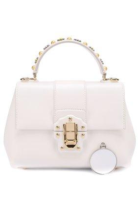 Сумка Lucia small с декорированной ручкой Dolce & Gabbana белая цвета   Фото №4