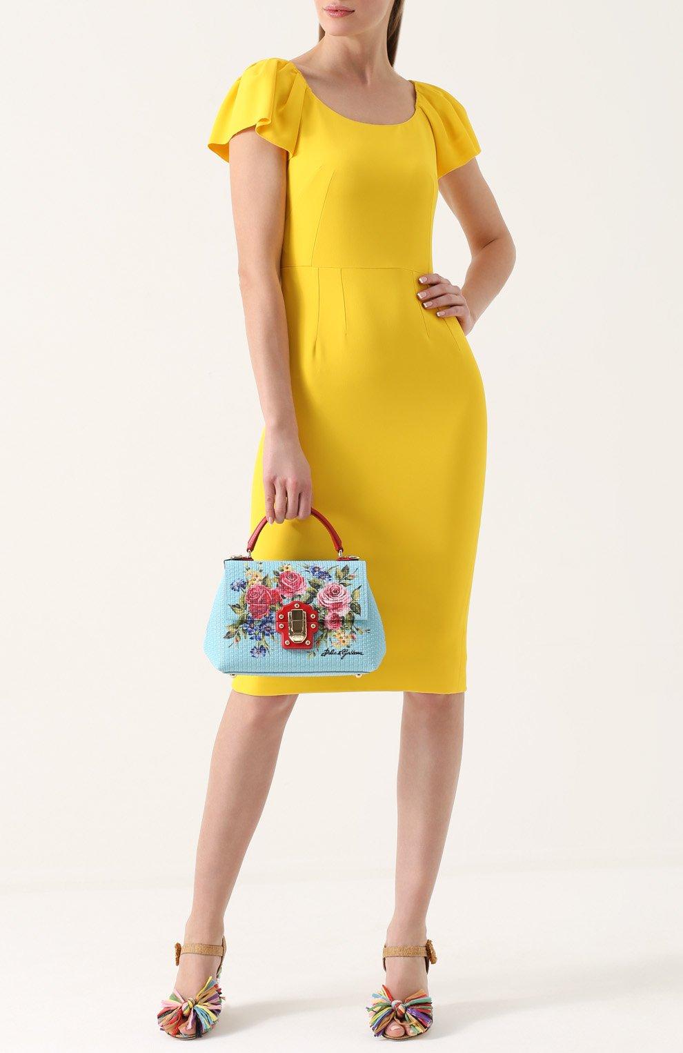 Сумка Lucia с принтом Dolce & Gabbana голубая цвета | Фото №2