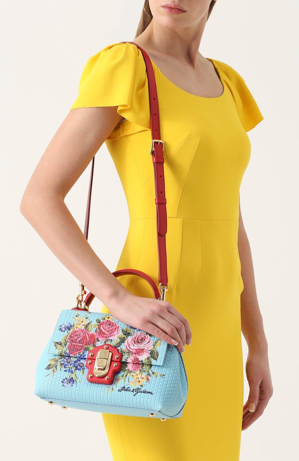 Сумка Lucia с принтом Dolce & Gabbana голубая цвета | Фото №5