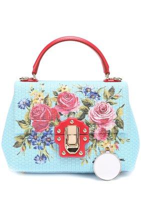 Сумка Lucia с принтом Dolce & Gabbana голубая цвета | Фото №6
