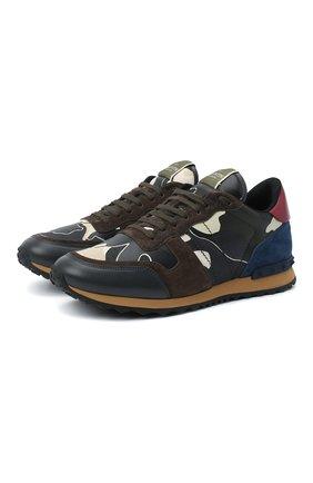 Мужские комбинированные кроссовки valentino garavani rockrunner с камуфляжным принтом VALENTINO разноцветного цвета, арт. MY0S0723/TCC | Фото 1