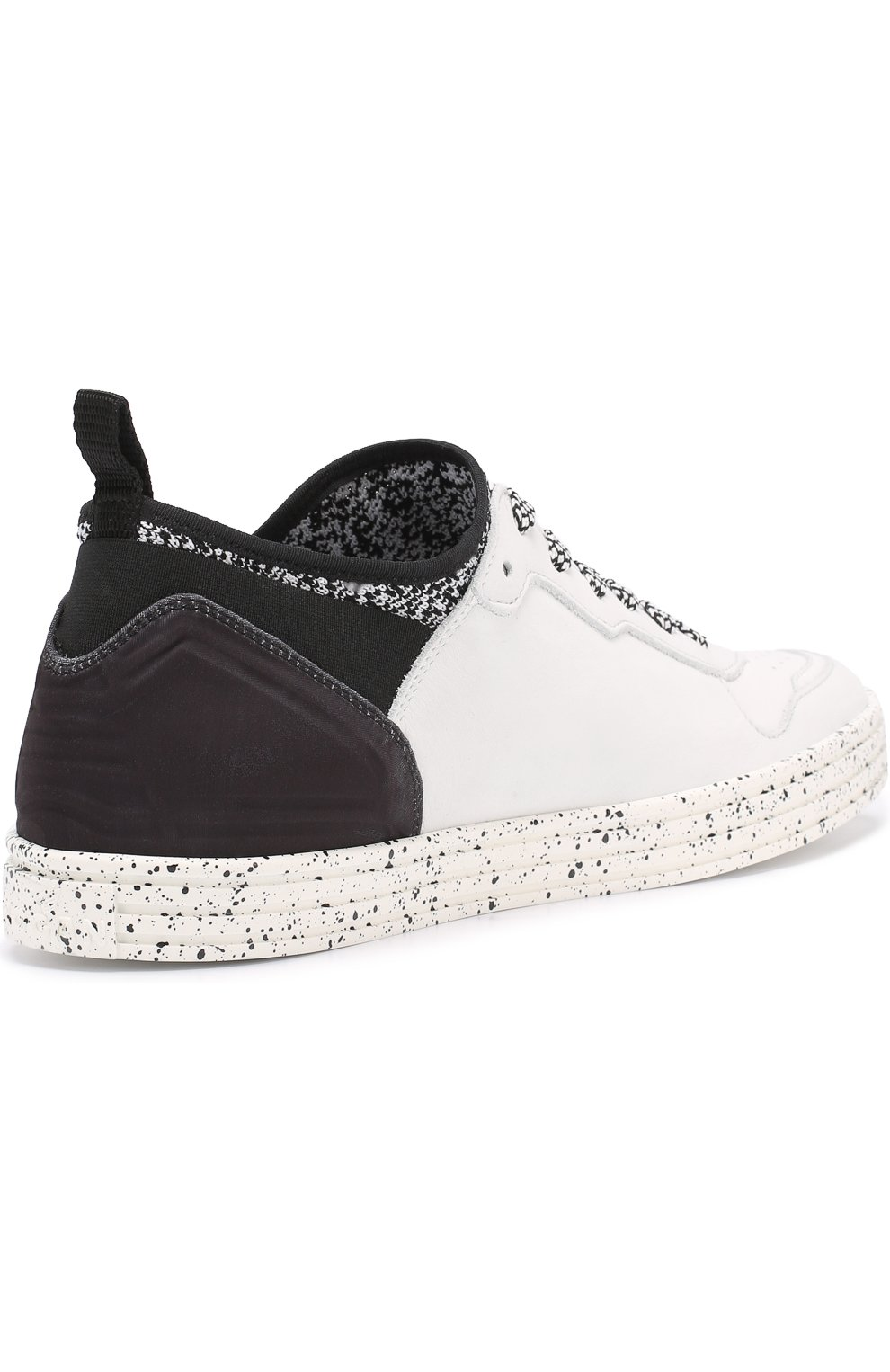 Кожаные кеды на шнуровке с контрастной отделкой   Фото №3